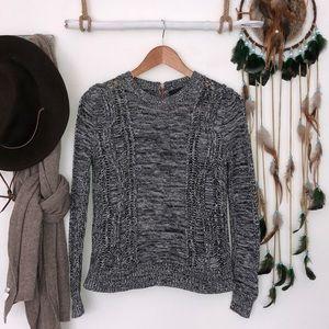 360 cashmere black/white cable knit size XS